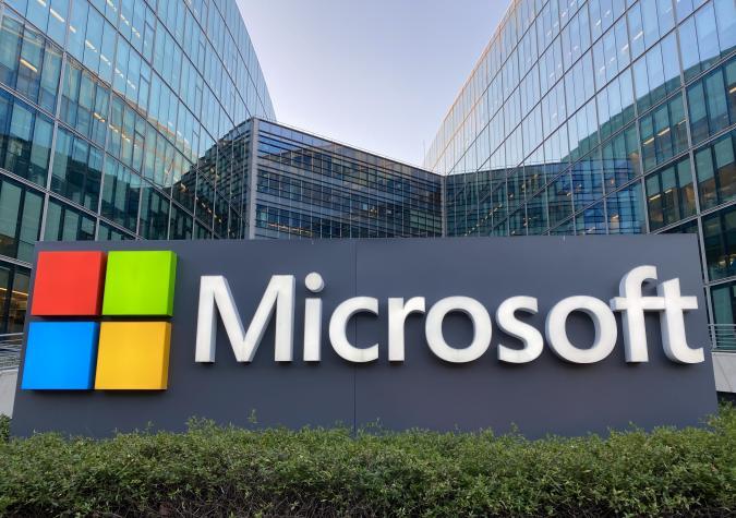 Microsoft France headquarters entrance in Issy les Moulineaux near Paris