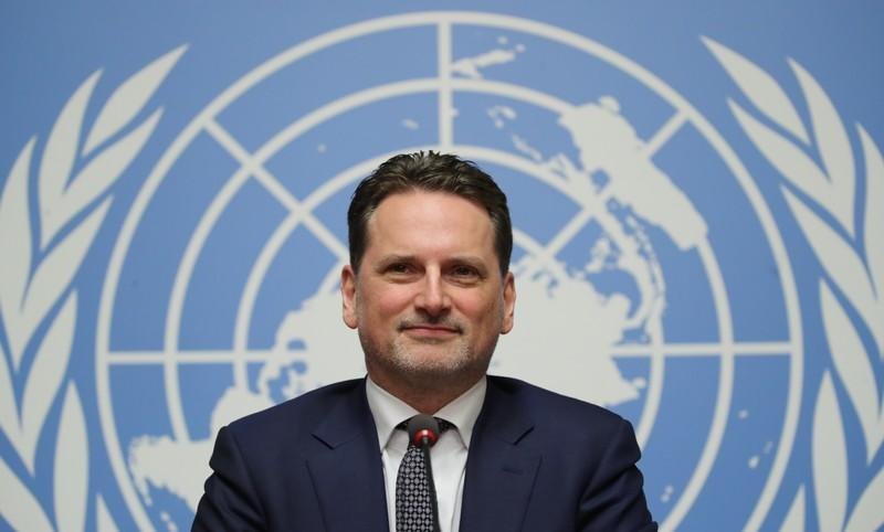 Krahenbuhl Commissioner-General of the UNRWA attends a news conference in Geneva