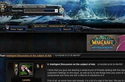 Blizzard adds advertising to the official forums