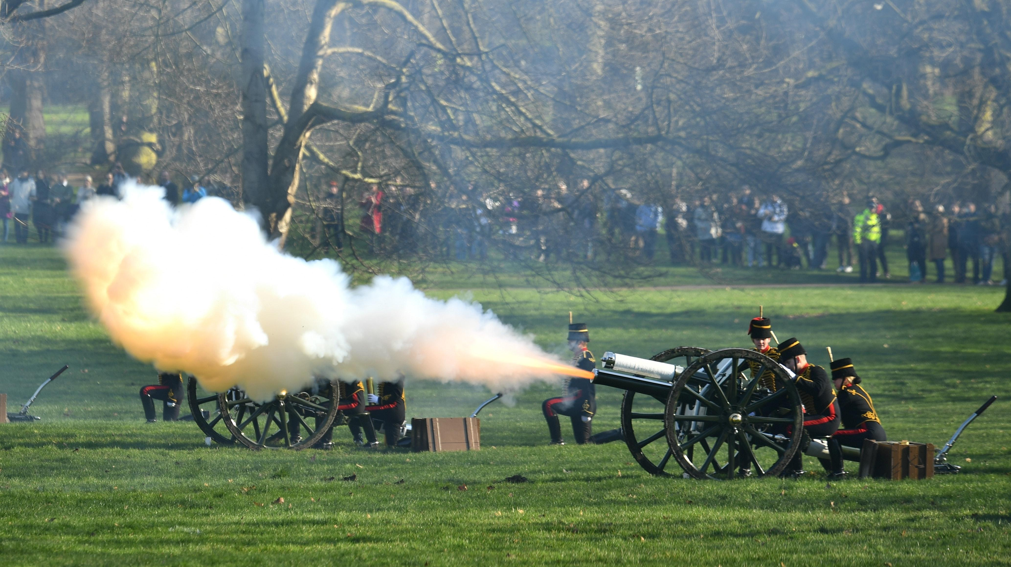 Gun salutes fired to mark Queen's 68 years on the throne