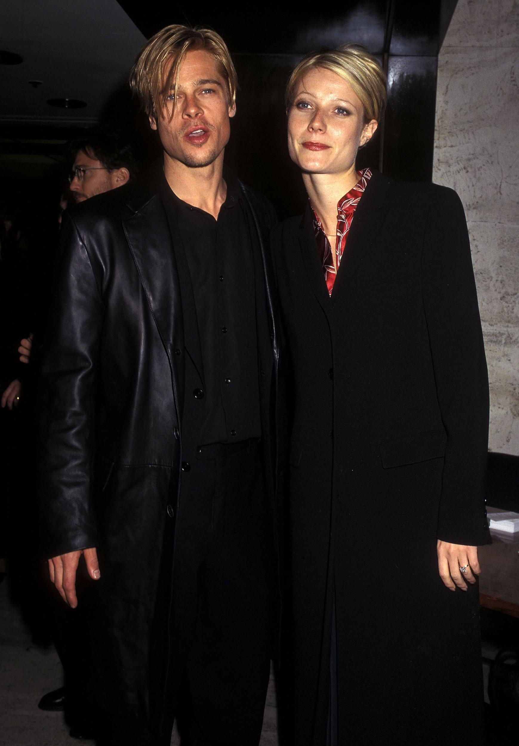 Actor Brad Pitt and actress Gwyneth Paltrow attend 'The Devil's Own' New York City Premiere on March 13, 1997 at City Cinemas Cinema 1 in New York City. (Photo by Ron Galella, Ltd./WireImage)