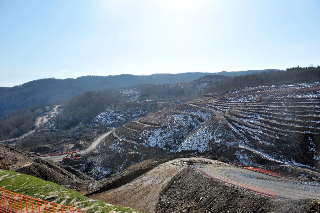 The site of a gold mine project in the mountains of Skouries, northern Greece