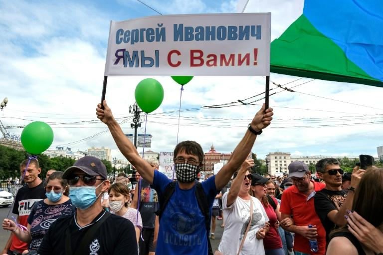 'Not for the good of our region' read a slogan (AFP Photo/Aleksandr Yanyshev)