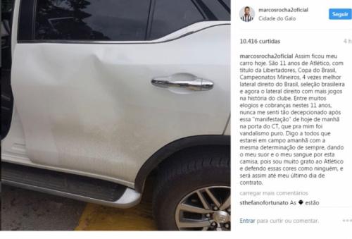 Lateral do Galo tem carro depredado por torcedores e diz: 'Nunca me senti tão decepcionado'