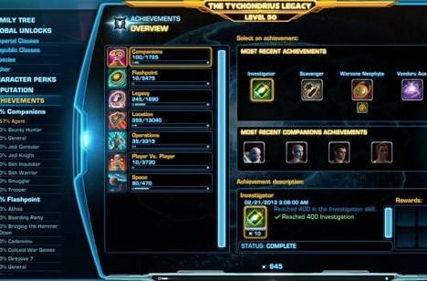 SWTOR's Legacy Achievement system detailed
