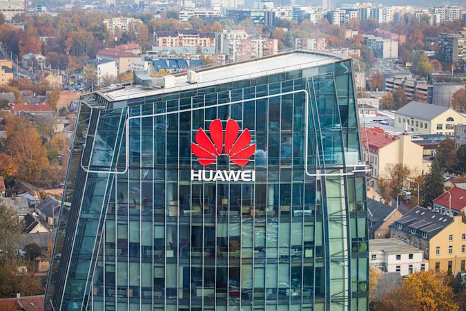Vilnius, Lithuania - October 16, 2018: Huawei logo on a building in Vilnius. Huawei is a Chinese multinational networking and telecommunications equipment and services company.