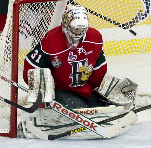 Fucale backstopped the Mooseheads to a Memorial Cup win last season. (CP / Liam Richards)