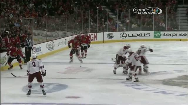 Shane Doan levels Johnny Oduya twice