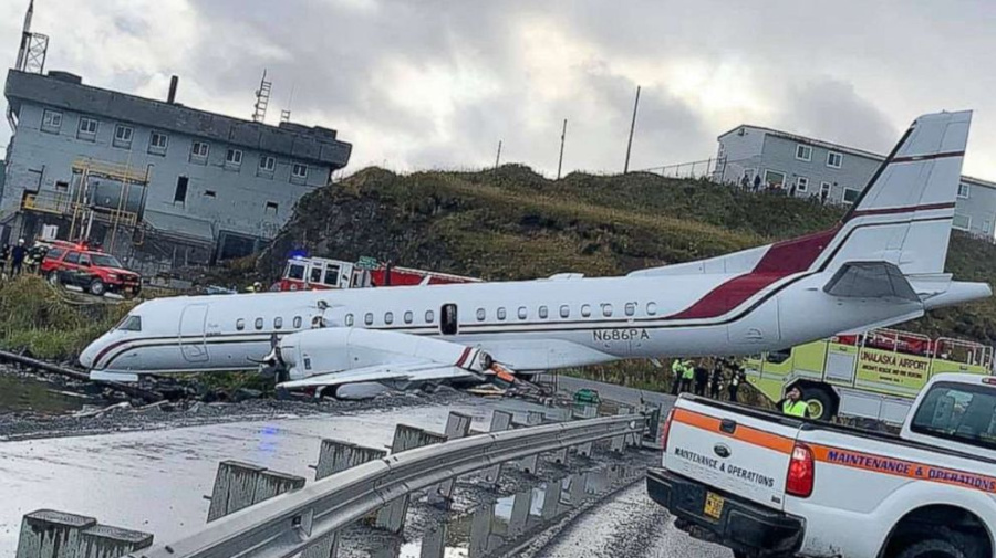 2 critically hurt after plane overshoots runway