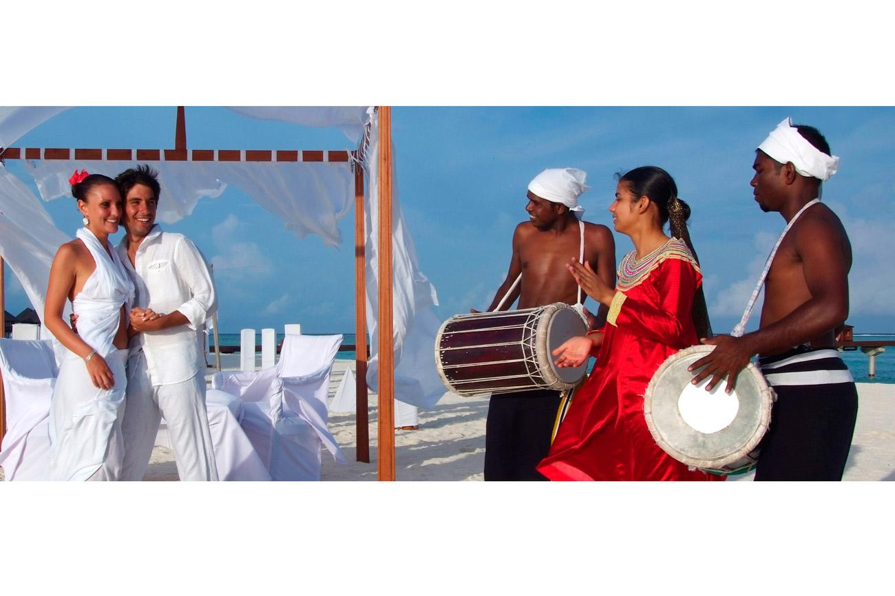 """White-sand beaches, swaying palms and the crystalline waters of a lagoon: look no further than the Maldives for this picture-perfect honeymoon destination. At <b><a href=""""http://www.olhuvelimaldives.com/"""" target=""""_blank"""">Olhuveli Beach & Spa Resort</a></b> a short speedboat ride from the airport, they're rolling out the red carpet for couples who want to marry and honeymoon in the same exotic setting. Weddings are celebrated at sunset on the beach, with the bride walking down a sandy aisle to the accompaniment of Maldivian drummers. And for the honeymoon, romantic voyages in a traditional dhoni boat and aromatherapy massages for two are among the extras loved-up couples can enjoy once they've tied the knot. From £1,499 for seven nights with <b><a href=""""http://www.thomson.co.uk/"""" target=""""_blank"""">Thomson</a></b>. Wedding celebrations start from $1,600."""