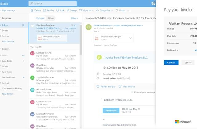 You can soon pay bills directly through your Outlook inbox