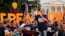 Rosie O'Donnell Baits Trump With Broadway Tunes Protest Outside White House
