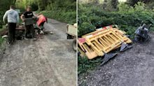 Woman confronts fly-tippers dumping debris then takes their trailer keys