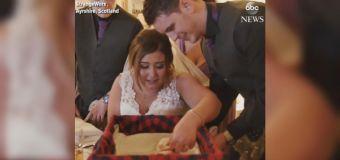 Bride breaks down in tears when gifted a puppy