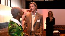 Brad Pitt Wears a Name Tag at Oscar Nominee Luncheon as He Mingles with Fellow Celebrities