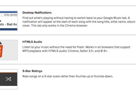 Google Play Music switches on labs features: HTML5 player, star ratings and notifications