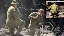 Sombre moment army reservist pays tribute to uncle and cousin who died in bushfire