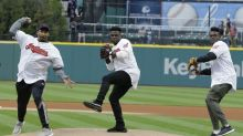 Browns' trio of first-round picks throw out first pitch at Indians game