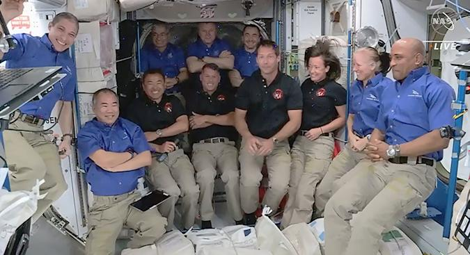 SpaceX Crew-2 astronauts after Crew Dragon docks with ISS