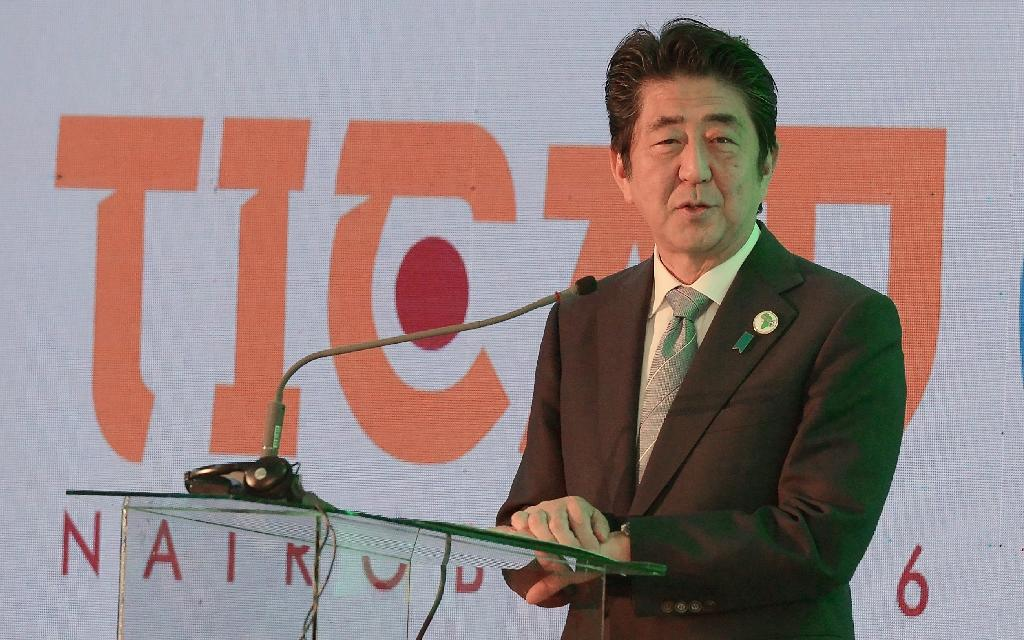 Japanese Prime Minister Shinzo Abe speaks during a session with Kenya's Ministry of Health and World Bank group at the Tokyo International Conference on African Development (TICAD) in Nairobi on August 26, 2016