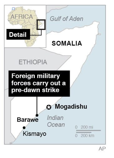 Map locates Barawe, Somalia; 1c x 3 inches; 46.5 mm x 76 mm;