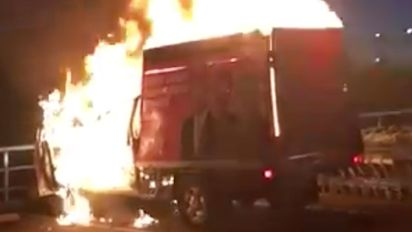 Video shows One Nation truck engulfed in flames