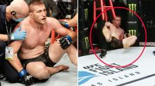 UFC fighter falls out of cage for extraordinary TKO loss