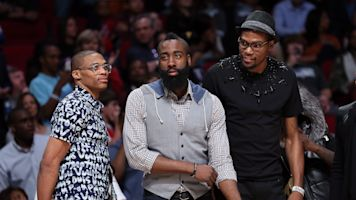 James Harden says the Rockets have the best dressed team in sports history and dishes on reuniting with Westbrook