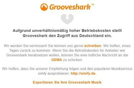 Grooveshark goes dark in Germany over 'unreasonably high' license fees