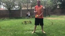 Dad accidentally hits kid in face with ball three times