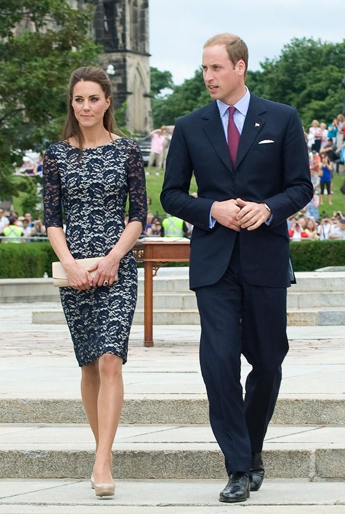 Kate wore a lace Erdem shift dress and nude L.K. Bennett heels while attending the wreath-laying ceremony at the National War Memorial in Canada.