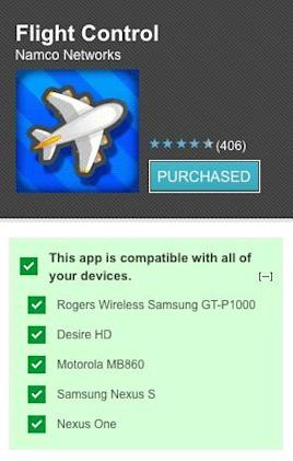Android Market web store now checks which apps are compatible with your devices