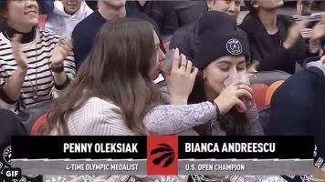 Bianca Andreescu, Penny Oleksiak chug beers courtside at Raptors game