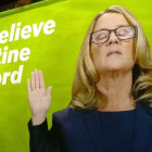Protestors Played Dr. Ford's Testimony Outside an Event Honoring Kavanaugh