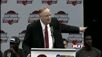 UofL President James Ramsey speaks at basketball celebration