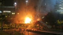 Bridge Set Alight During Clashes Between Hong Kong Police And Protesters