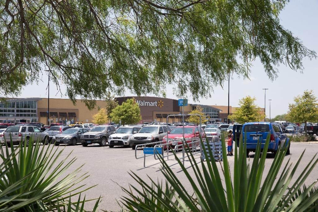 Migrants were discovered in a truck parked in this Walmart parking lot in San Antonio, a city that is a two-hour drive from the US-Mexico border (AFP Photo/SUZANNE CORDEIRO)