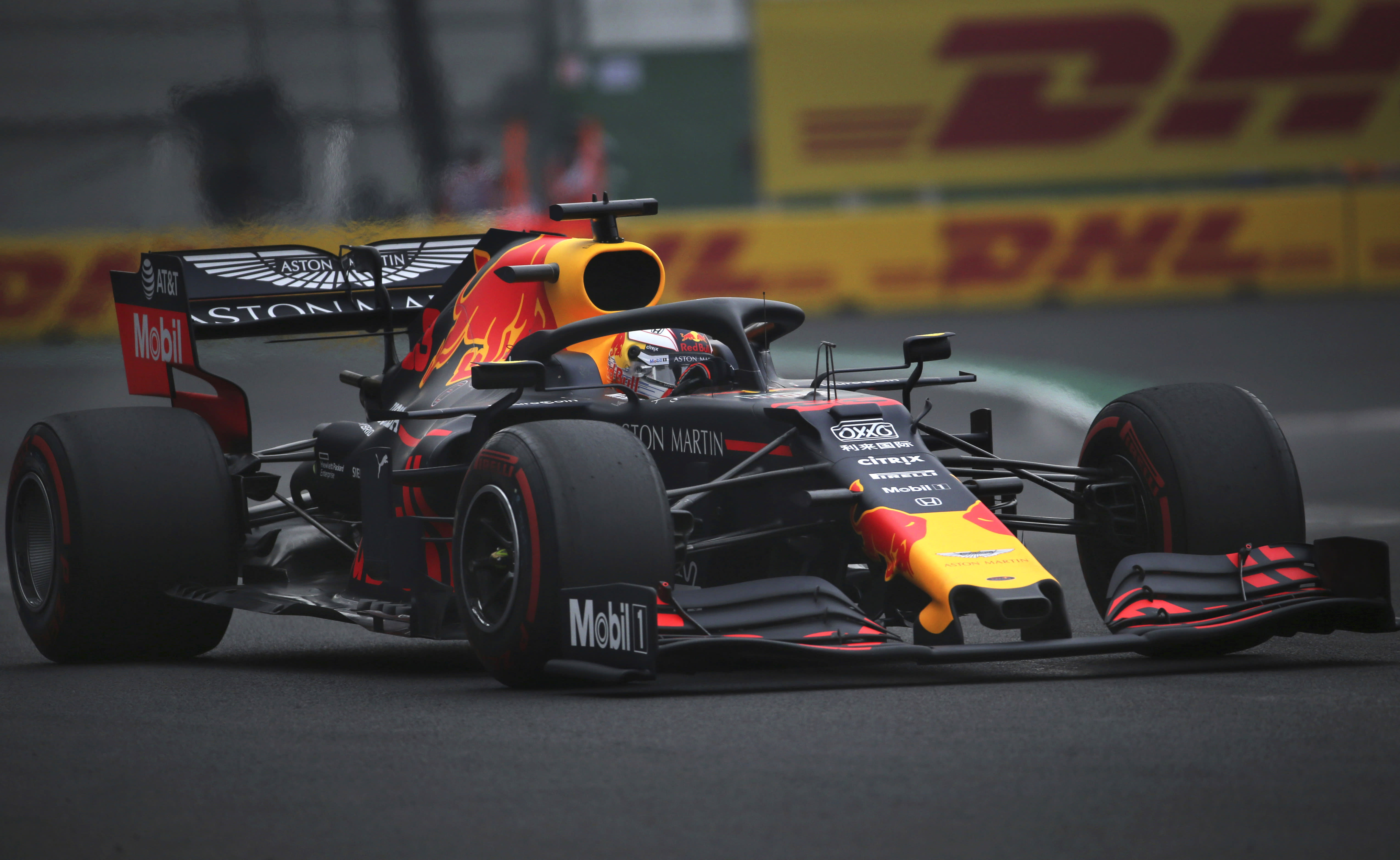 Red Bull driver Max Verstappen, of the Netherlands, drives his car during a training session of the Formula One Mexico Grand Prix auto race at the Hermanos Rodriguez racetrack in Mexico City, Friday, Oct. 25, 2019. (AP Photo/Marco Ugarte)