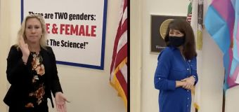 Rep. Greene's sign mocks colleague's trans daughter