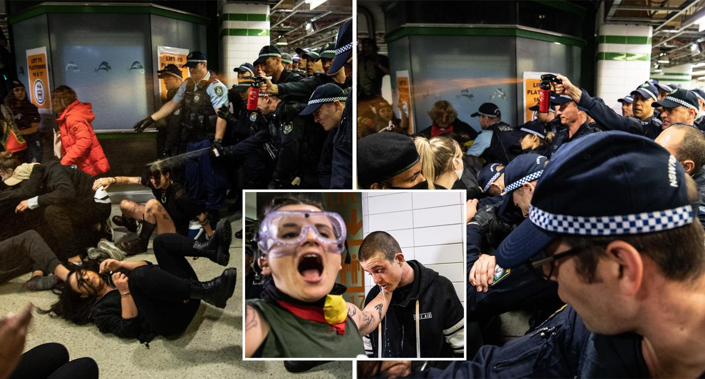 Police criticised for using pepper spray on protesters in train station