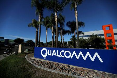 A sign on the Qualcomm campus is seen in San Diego, California, U.S. November 6, 2017. REUTERS/Mike Blake/Files