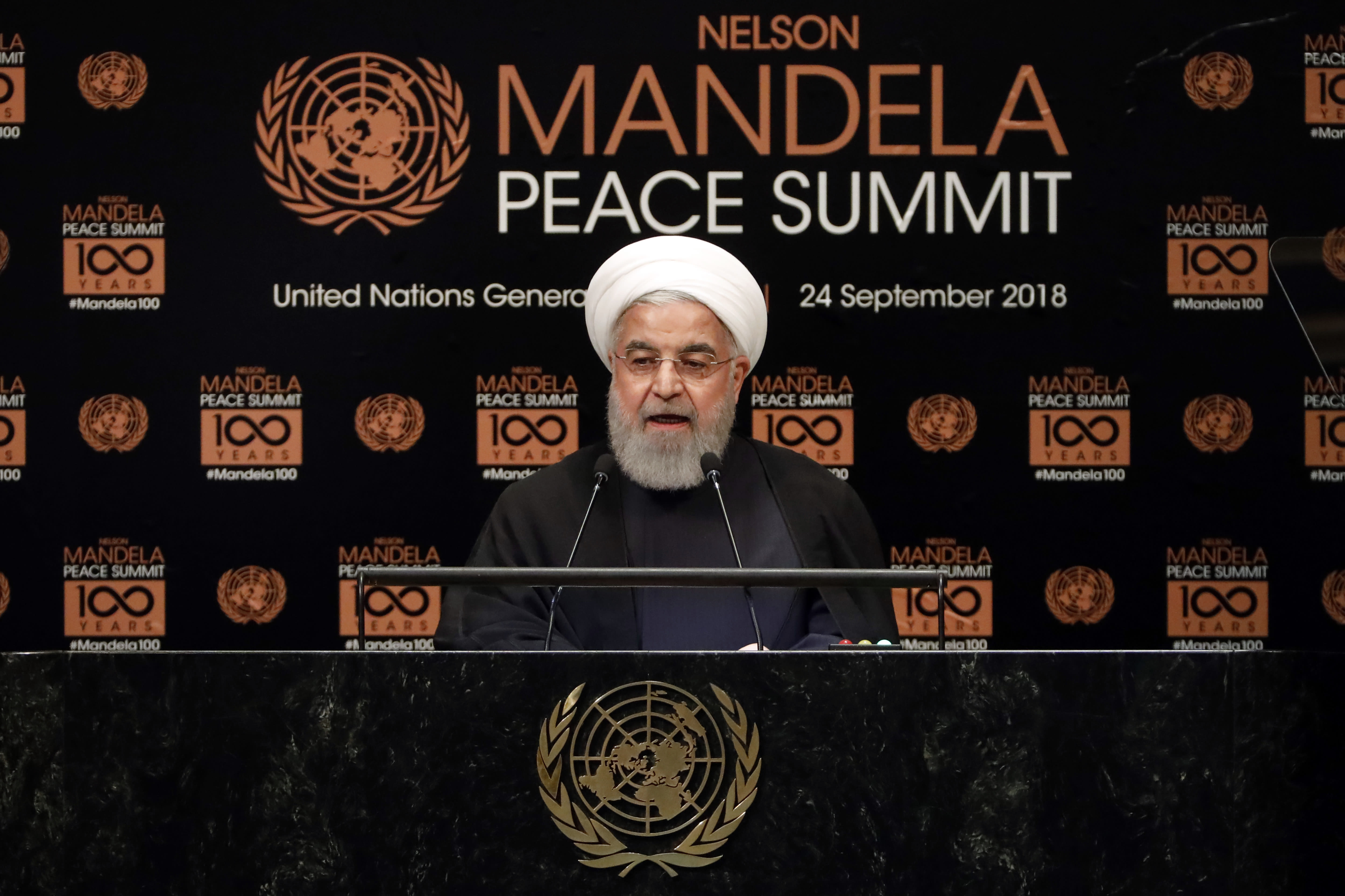 Iran's President Hassan Rouhani addresses the Nelson Mandela Peace Summit in the United Nations General Assembly, at U.N. headquarters, Monday, Sept. 24, 2018. (AP Photo/Richard Drew)