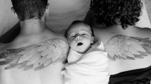 Photo of parents posing with their babies — one newborn, one angel — goes viral
