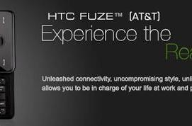 HTC's official Fuze page shows up... kinda