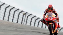 Marquez top on wet Aragon MotoGP track