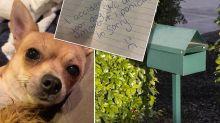 Disturbing note shocks devastated family after dog goes missing