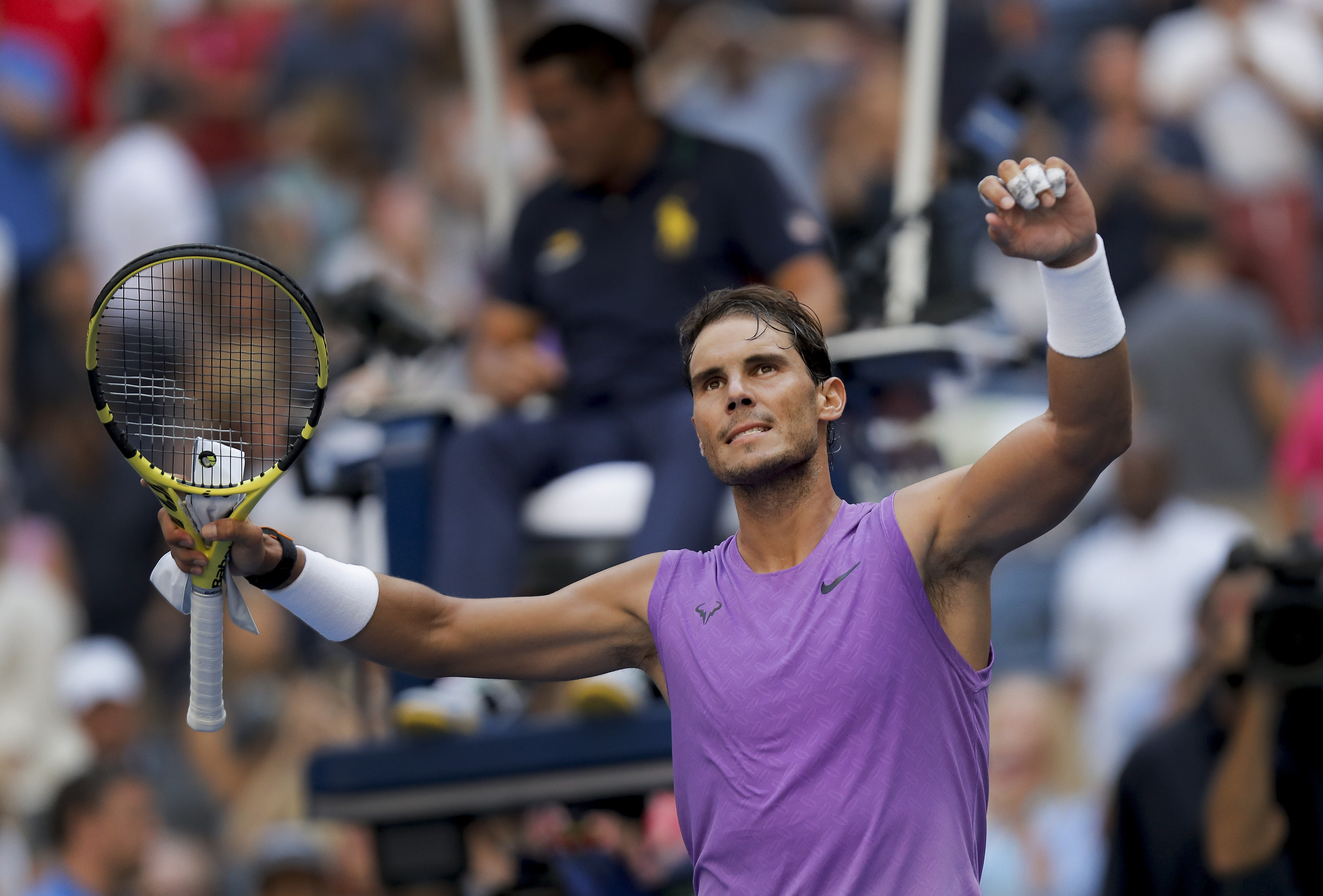 Rafael Nadal, of Spain, reacts to the crowd after defeating Hyeon Chung, of South Korea, during round three of the US Open tennis championships Saturday, Aug. 31, 2019, in New York. (AP Photo/Eduardo Munoz Alvarez)