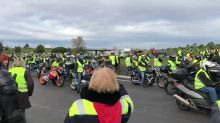 Motorcycle Riding 'Yellow Vests' Blockade Toll Booth Near French Border with Spain