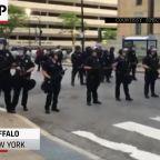 Man violently shoved as NY police enforce curfew