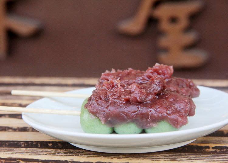 方便邊走邊吃的艾草麻糬丸子1串160日圓